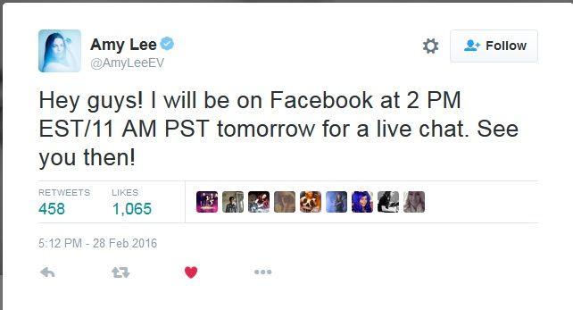 Chat with Amy Lee TONIGHT!  امشب ساعت 10:30 به وقت ایران، میتونید با ایمی لی به صورت زنده تو فیسبوکش چت کنید!  #ایمی_لی #اونسنس #AmyLee #Evanescece #EvFans