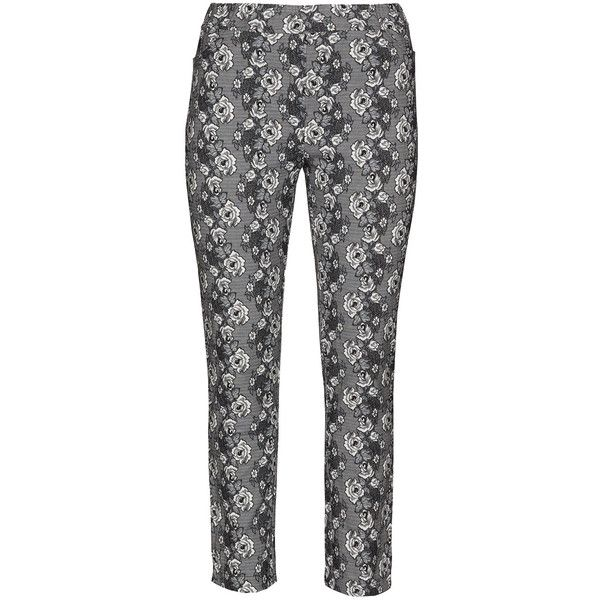 Mona Lisa Black / White Plus Size Floral print treggings ($62) ❤ liked on Polyvore featuring pants, leggings, black, plus size, floral print leggings, white leggings, plus size black leggings, plus size leggings and patterned leggings
