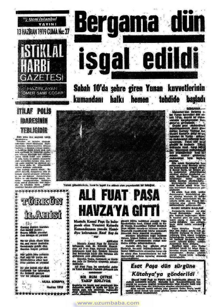 İstiklal harbi gazetesi 13 haziran 1919