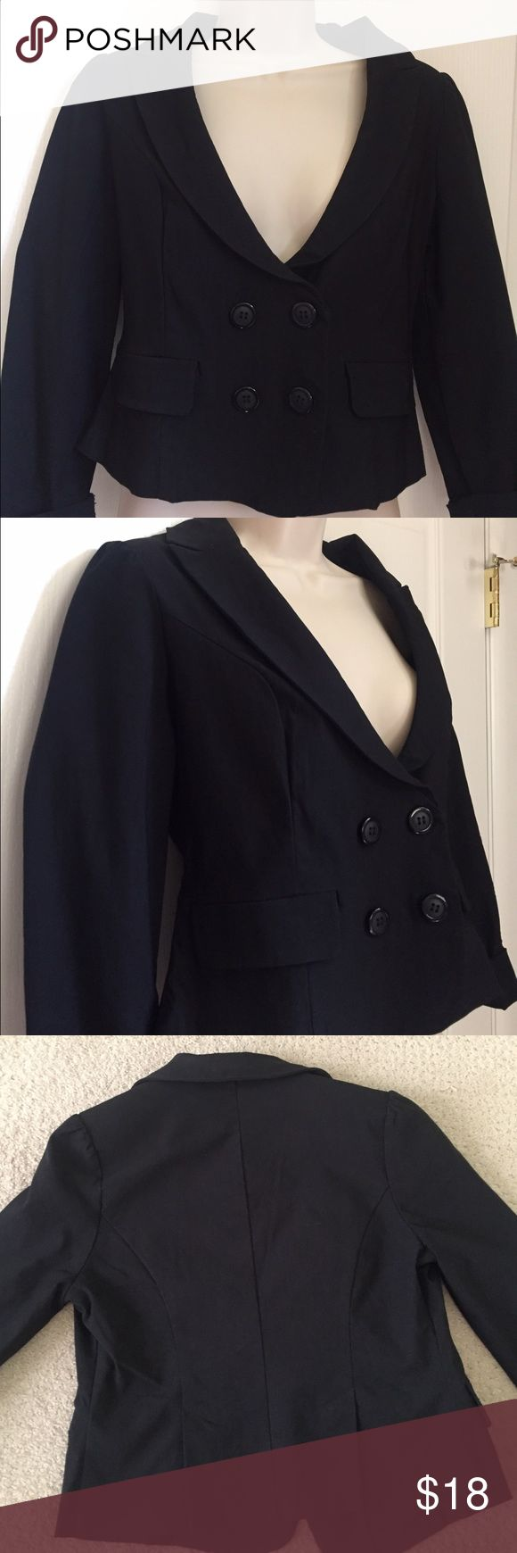 Love Culture Black Blazer Black Blazer buttoned or can unbutton. Long sleeve although pictured with sleeves rolled up. Padded shoulders. Great quality, only worn twice. Large although runs small, so more like medium. 74% Cotton, 22% Nylon, 4% Spandex. Love Culture Jackets & Coats Blazers