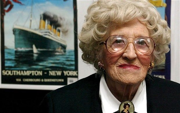 The last survivor of the Titanic incident, Millvina Dean. She was only 8 weeks old while aboard the ship of dreams. She and her family were 3rd class passengers; she, her mother and siblings survived, but her father perished that night. Millvina passed away in 2009.