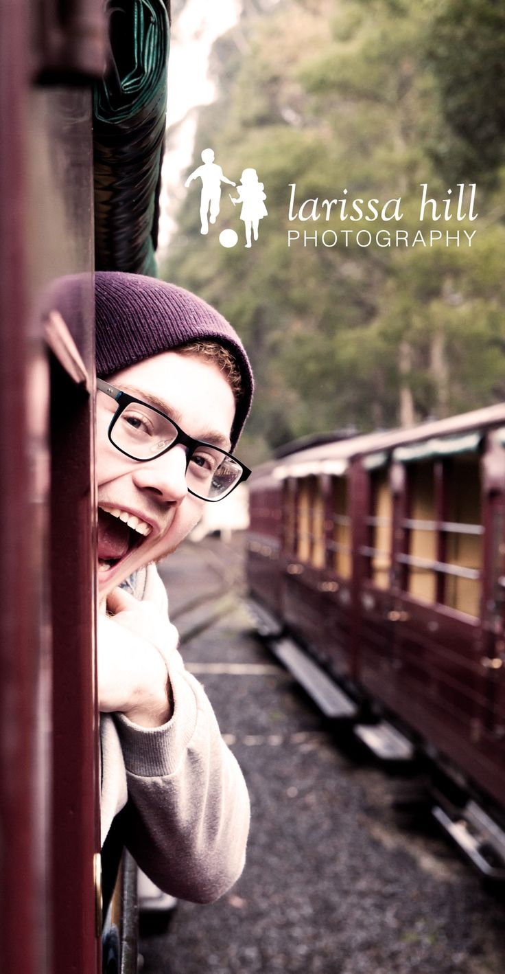 Puffing Billy - this chap is always the clown! Teenager, glasses, carriage, smile