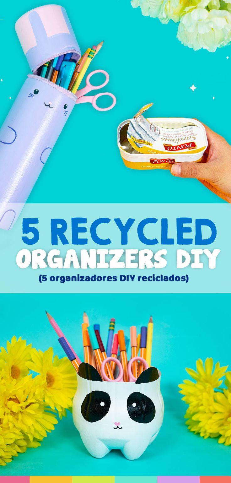 5 Organizadores de escritorio con materiales reciclables Prom Makeup Looks, Carton Box, Diy Organization, Perler Beads, Recycling, Kawaii, Crafty, Drawings, Nailart