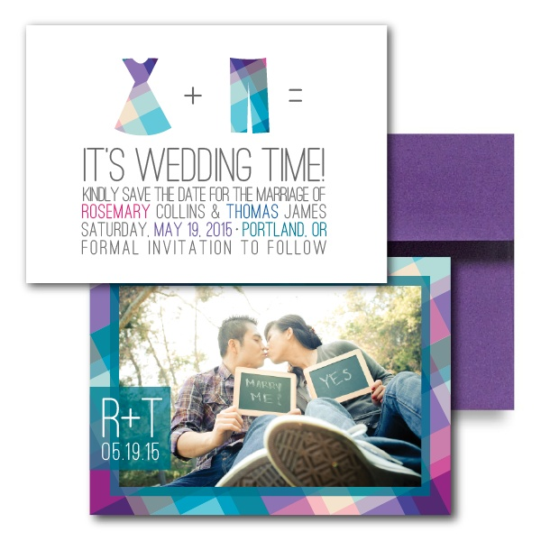 Rad in Plaid Save the Dates, Purple Save the Dates, Cute Save the Dates, Unique Save the Dates