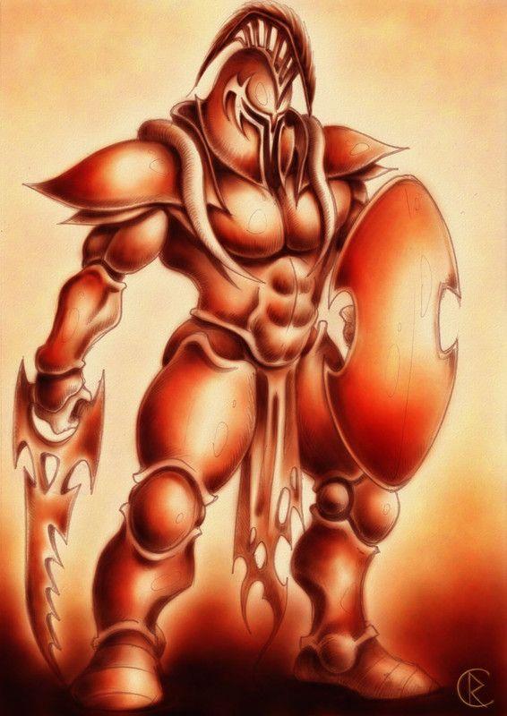 Ares est le dieu de la guerre et de la violence; il est le seul fils légitime de Zeus et de Héra.  Autour de lui, l'imagination populaire voyait tout un cortège allégorique: Enyo (déesse de la guerre), Eris (la Discorde), Deimos (la Crainte) et Phobos (l'Epouvante), et les Kères (divinités du meurtre et de la mort violente). Il fait partie des douze Olympiens, et il remplissait l'Olympe du bruit de ses querelles incessantes, ennemi en particulier d'Héraclès et d'Athéna;