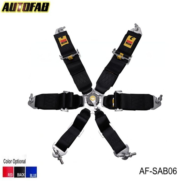 AUTOFAB - 2015 New 6-Point Racing Seat Belt/with 5 pcs FIA Approved Expiry 2020 (Red,Blue,Black) AF-SAB06