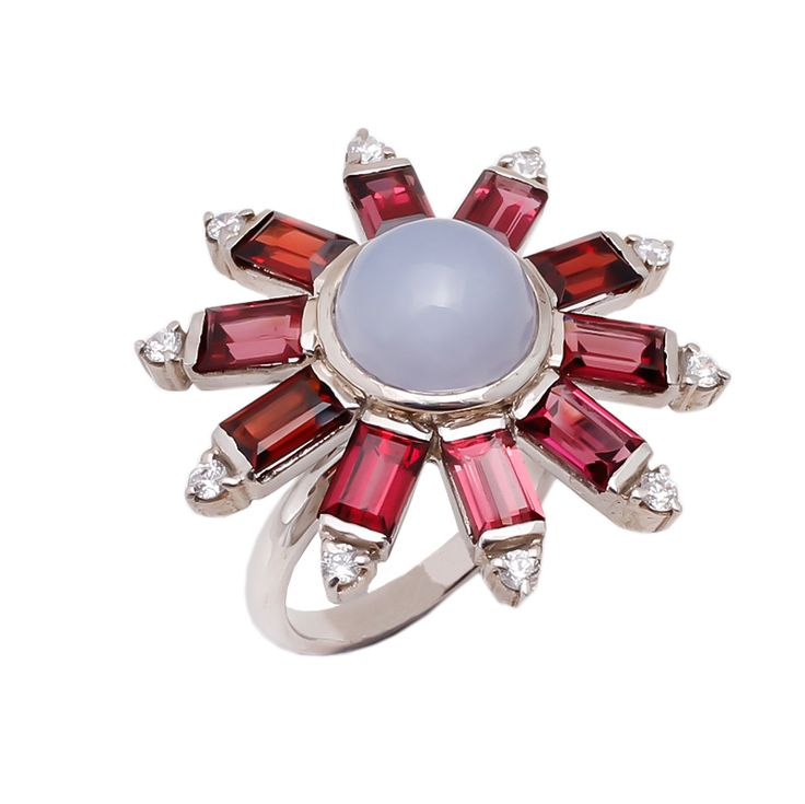 Rhodolite and Blue Chalcedony with diamond with sterling silver.