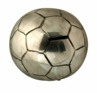 Sil Silver Antique Football Money Box A silver football shaped money box with a silver finish. Approximately 14cm in size.