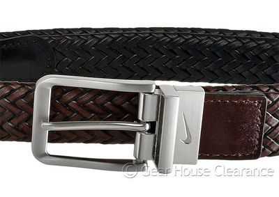 New NIKE GOLF Mens Braided Bonded Leather Belt - Reversible Black / Brown