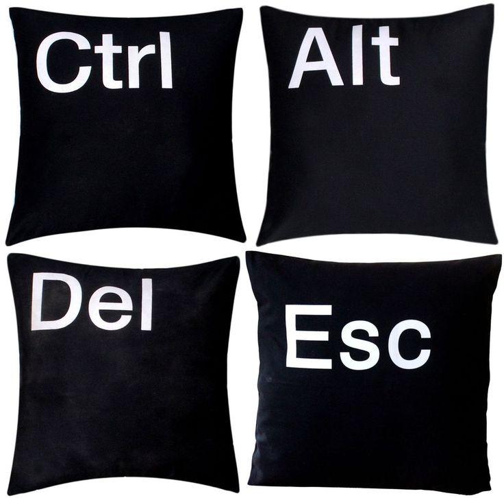 'Ctrl Alt Del Esc' Premium Quality 100% Twill Cotton Black Cushion Covers Pillow   eBay