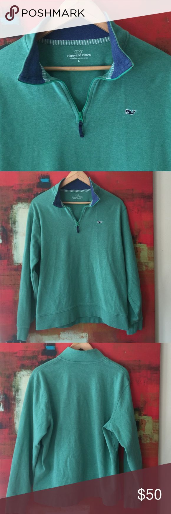 Vineyard Vines Pullover Starboard green quarter zip-up embodies the preppy, playful Vineyard Vines vibe and the coziness of a sweatshirt. Embroidered whale logo, ribbed cuffs and bottom hem and contrasting blue interior collar make this all Pina cotton staple something you'll reach for time and again. Please see two small dots in photo 4 (pencil marks?) near front bottom hem - light and barely noticeable but I wanted to point them out. Vineyard Vines Sweaters Zip Up