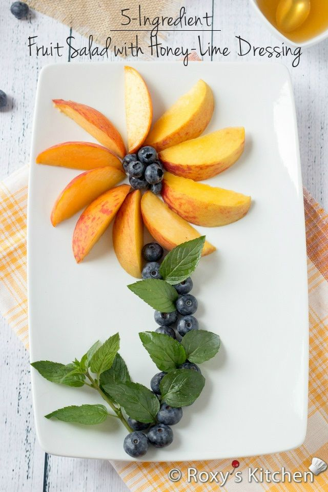 5-Ingredient Peach Blueberry Fruit Salad with Honey-Lime Dressing | Roxy's Kitchen
