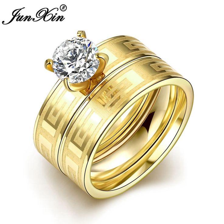 Online Get Cheap ユニークなイエローゴールド婚約指輪 -Aliexpress ... Junxin新しいユニークな穀物デザインステンレス鋼リング付きホワイトジルコンウェディング婚約指輪イエロー