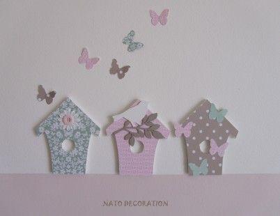 Nichoirs en bois décorés pour chambre de jolie petite fille...
