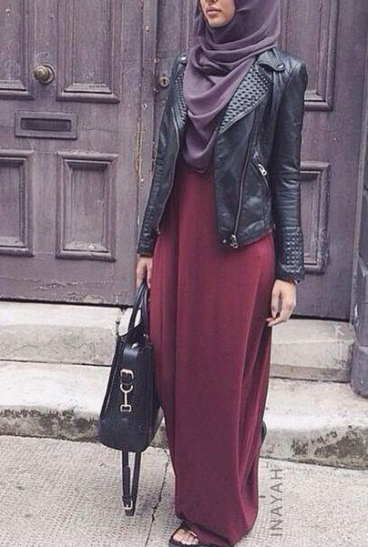 Hijabi fashion. Leather jacket. Burgundy dress.