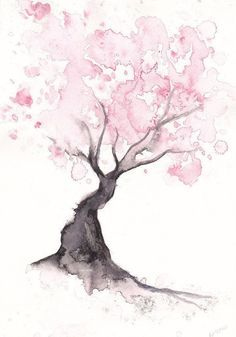 Cherry Blossom Tree Print Watercolor Painting Print Spring Tree Gift Bedroom Decor Wall Art Cherry Blossom Decor Home Wall Decor