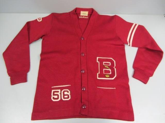 Vintage Dehen Men's Red Worsted Wool Varsity Cardigan 1956