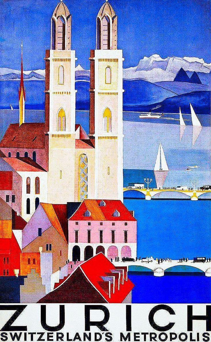 zurich / switzerland / travel poster / - #Poster #Switzerland #Travel # Zurich   Vintage travel posters, Travel posters, Switzerland travel