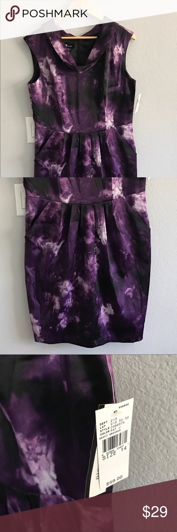 AB STUDIO purple elegant shift dress sz 14 NWT AB STUDIO deep purple elegant dress size 14 NWT, great for a night out or work party. Comes from a pet friendly home. 🐶🐱 AB Studio Dresses