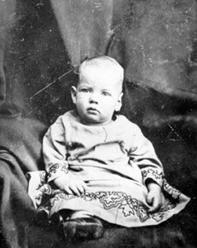Herbert Hoover as a baby.    Herbert was the second of three children born to Jesse and Hulda Hoover.