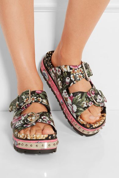 Alexander McQueen - Floral-print Leather Sandals - Pink - IT38.5