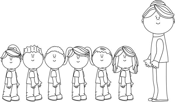 Black and White Students in Line with Teacher Clip Art - Black and White Students in Line with Teacher Vector Image