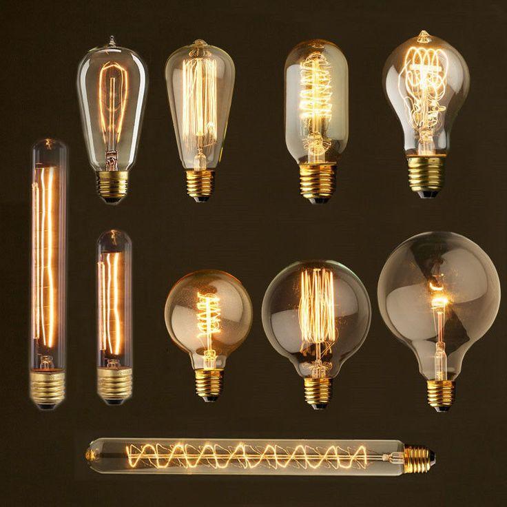 retro vintage industrial style e27 40w 110v 220v glass edison light bulb - Vintage Light Bulbs