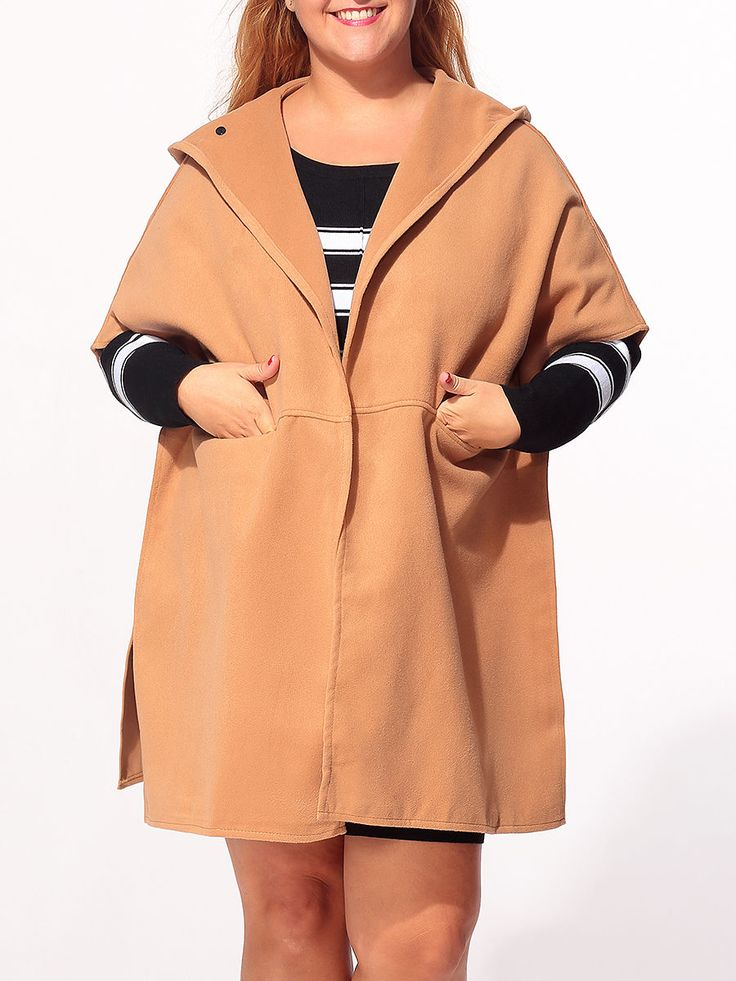 Hooded Pockets Side-vented Plain Plus-size-coats Only $32.95 USD More info...