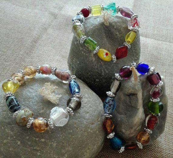 Festival jewellery multicolored lampwork beads bracelet with