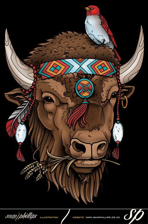 Get my NEW Buffalo design on clothing at www.samphillips.printmighty.co.nz