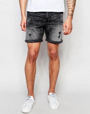 Черные выбеленные джинсовые шорты Only & Sons