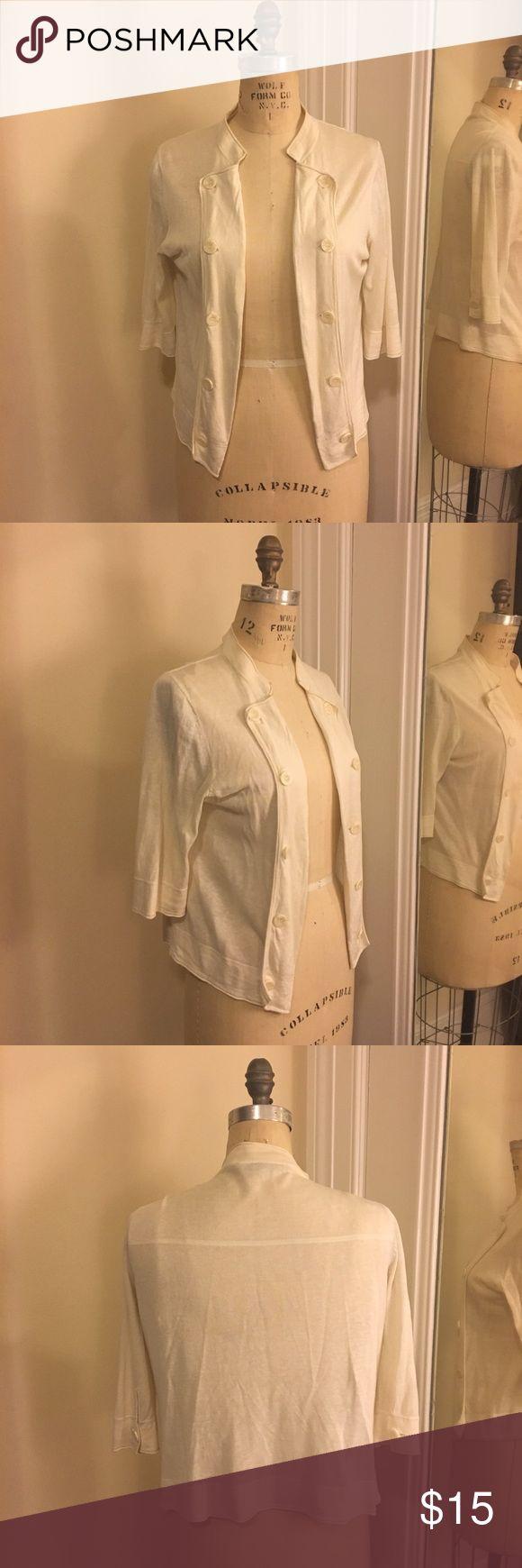 BCBGMAXAZRIA Nautical Cardigan in Cream L BCBGMAXAZRIA Nautical Cardigan. Excellent condition. 55% silk, 45% linen BCBGMaxAzria Sweaters Cardigans