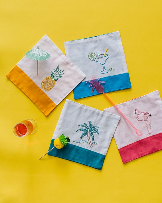 EMBROIDERED COCKTAIL NAPKINS HOSTESS GIFT - A TUTORIAL