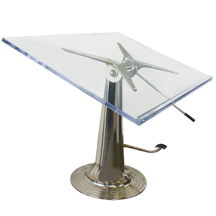 """Nike Drafting Table - Sweden 1940 - This restored drafting table was made by Nike Hydraulics in Eskilstuna, Sweden. The base is made from nickel plated steel and has a hydraulic mechanism. It pivots, angles and moves up and down to a minimum height of 3' and a maximum of 4'-2"""". It includes a 40"""" × 60"""" acrylic top"""