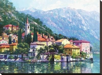 Reflections of Lake Como Stretched Canvas Print by Howard Behrens at Art.com