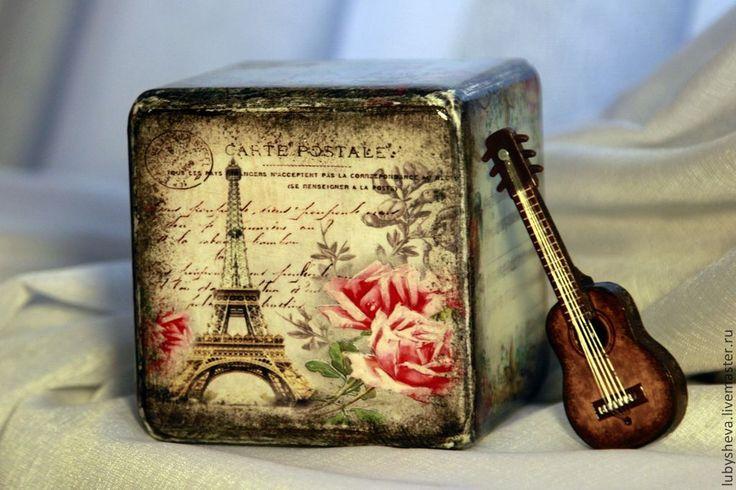 """Интерьерный кубик """"Весенний Париж"""" - разноцветный,кубик,кубик интерьерный"""
