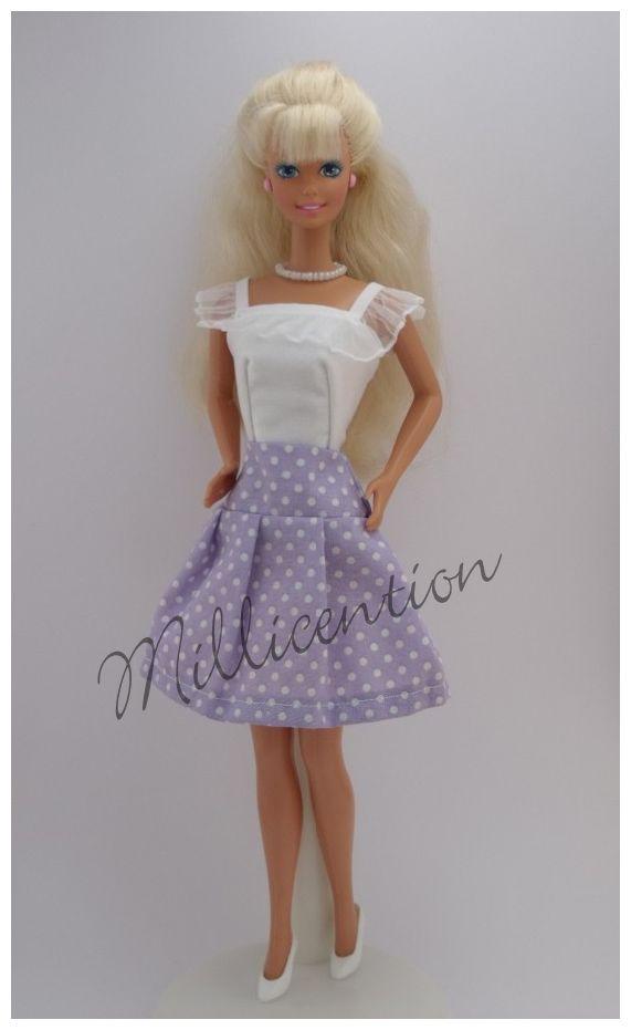 White ruffled Barbie doll top & pleated skirt