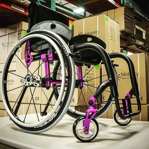 This Ki Mobility Rogue has a matte black finish frame with the purple anodizing package and Spinergy Wheels. #FunFrameFriday