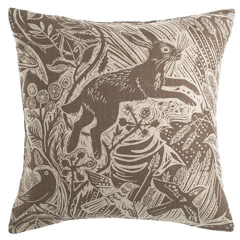 'Harvest Hare' cushion by Mark Hearld for St. Jude's Fabrics & Papers