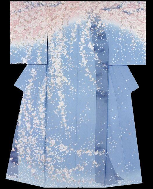 """Weeping Cherry Tree"" Kimono created by Takayuki Sugawara. Association Award. 33rd Annual Meeting of the Japanese textile artist Exhibition award work. Japan"