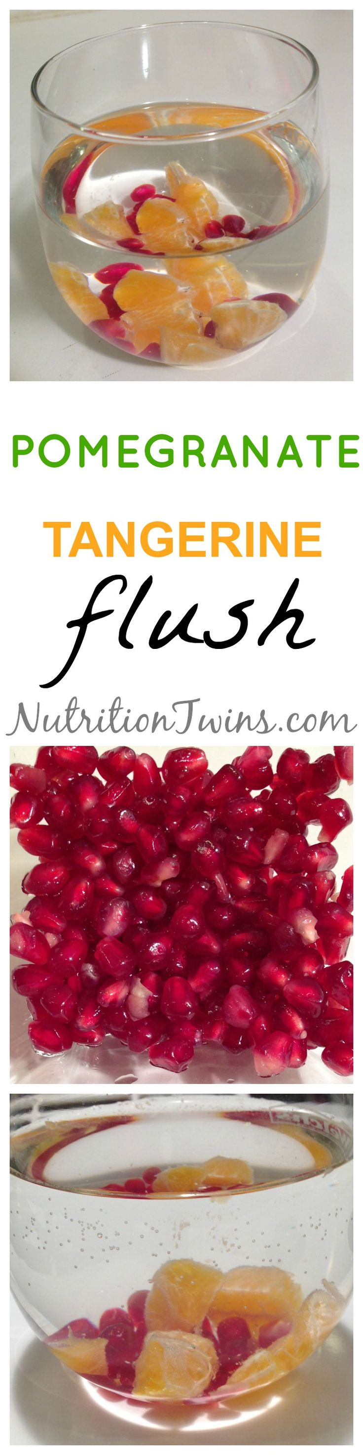 Pomegranate Tangerine Detox Flusher | Refreshing way to Flush Bloat & Restore Normal Fluid Balance | For MORE RECIPES please SIGN UP for our FREE NEWSLETTER www.NutritionTwins.com