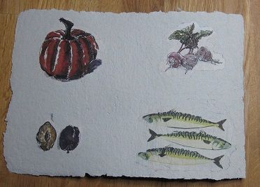 herfst oogst handgeschept papier   reap in autumn in handmade paper