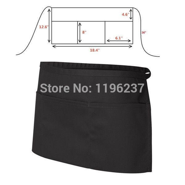 1PC Three Pocket Waiteress Waiter Men's Black Half Apron Restaurant Bar Kitchen Waist Apron Cozinha Bib Aprons for Women