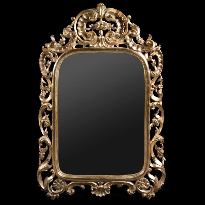 miroir baroque fleurs bois sculpt dor l 39 or fin peut tre dor au cuivre ou la feuille d. Black Bedroom Furniture Sets. Home Design Ideas