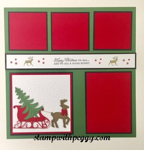 Santa's Sleigh stamp set & framelits, Greetings from Santa stamp set, Christmas Scrapbook page, stampwithpeggy.com