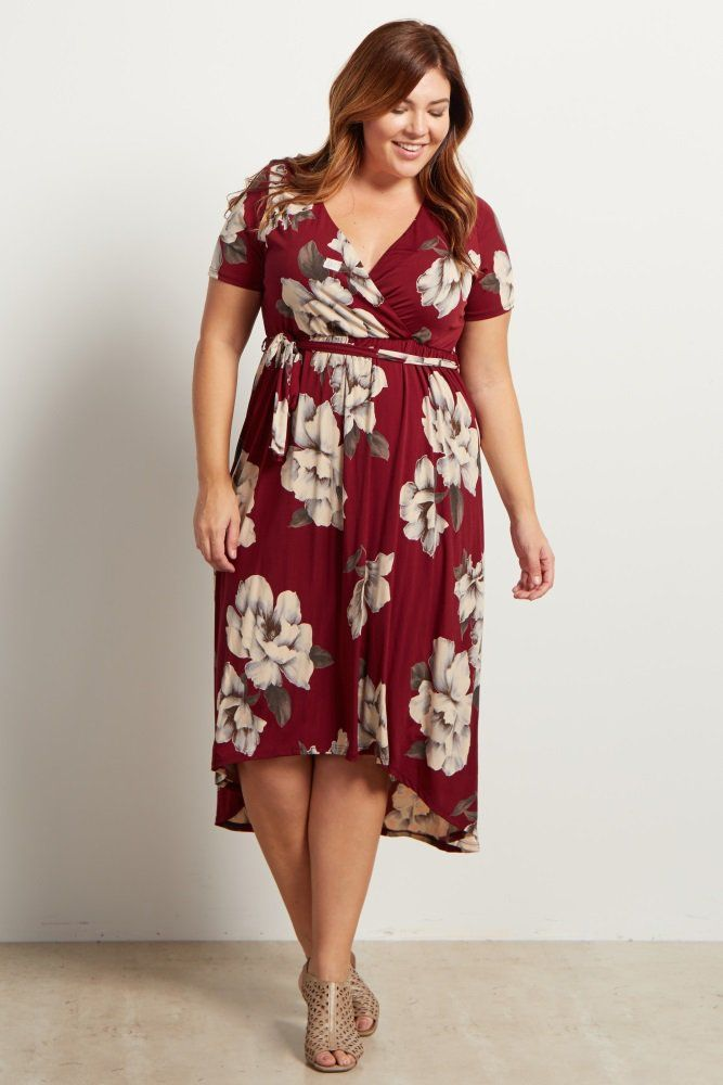 2f068a5545578 Burgundy Floral Hi-Low Midi Plus Size Dress | Things I love!! in ...
