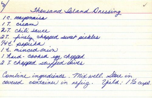 Handwritten Recipe Card For Thousand Island Dressing