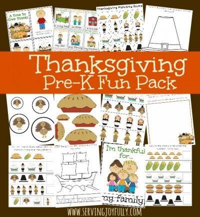 Thanksgiving Pre-K Fun Pack from Serving Joyfully