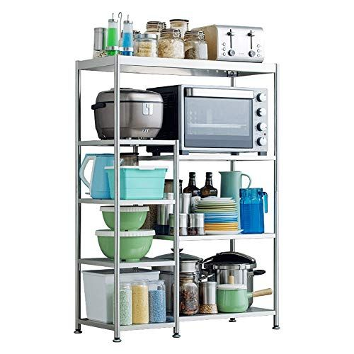 Kitchen Shelf Floor Storage Rack Stainless Steel Microwave Oven