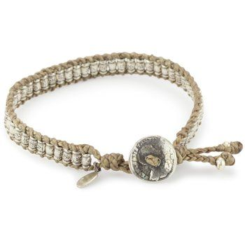 M.Cohen Handmade Designs Bracelet features a row of 925 sterling silver barrel beads with a stamped and antiqued floral pattern